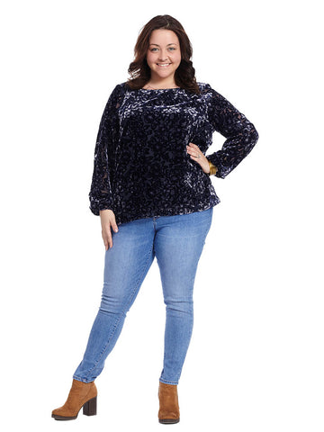 Blake Velvet Top In Blue Floral Print