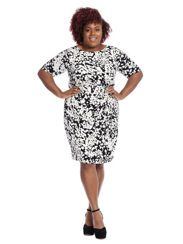 Black & White Printed Sheath Dress