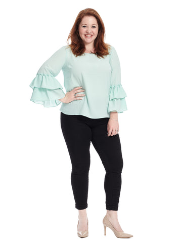 Double Ruffle Sleeve Mint Top