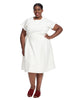 Short Sleeve White Fit And Flare Dress