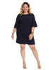 Bell Sleeve Navy Crepe Shift Dress