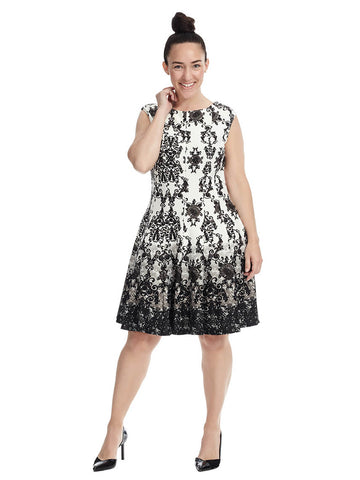 Fit & Flare Dress In Black & White Print