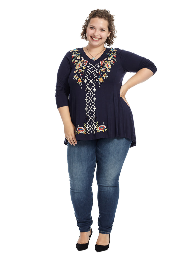Embroidered Indigo V-Neck Holly Tunic