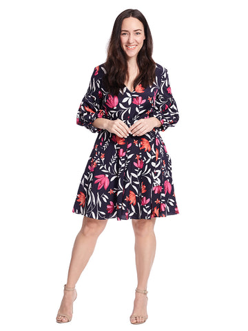 Balloon Sleeves Navy Print Fit And Flare Dress