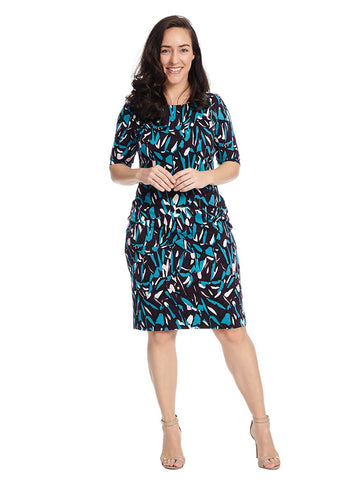Elbow Length Sleeve Abstract Print Dress In Plum