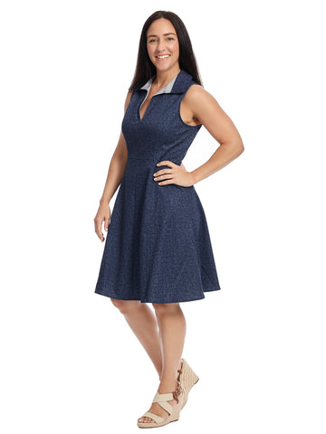 Sleeveless Collared Denim Fit And Flare Dress