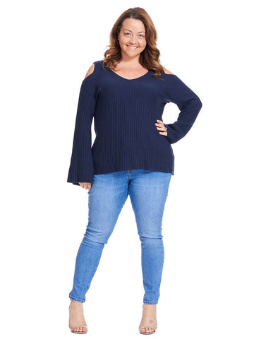 Cold Shoulder Navy Sweater