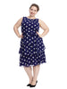 Tie Waist Tiered Polka Dot Dress