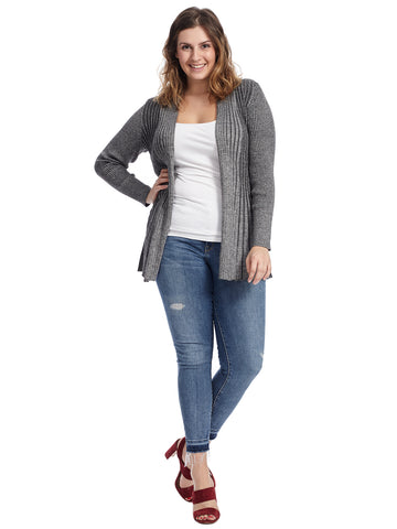 Open Front Marled Cardigan