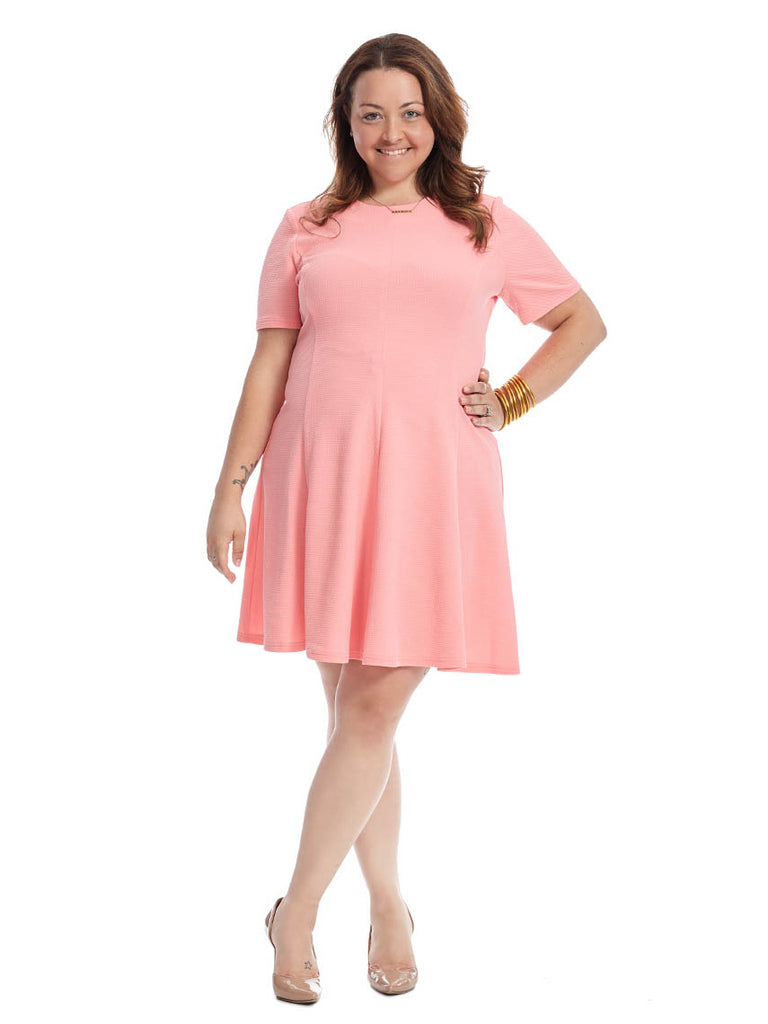 Short Sleeve Solid Knit Textured Fit & Flare Dress In Guava