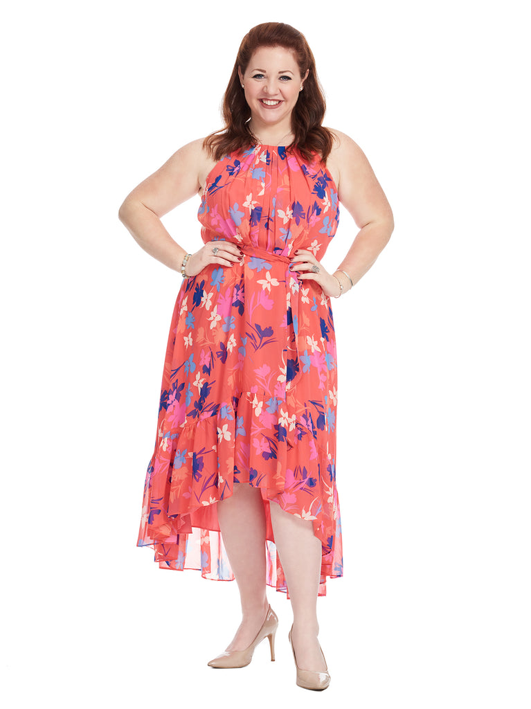 Chiffon Hi-Lo Floral Dress