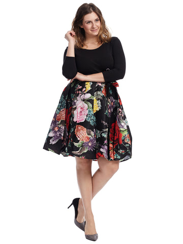 Black Floral Twofer Fit And Flare Dress