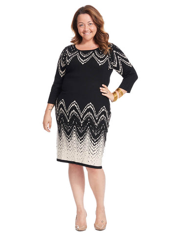 Wave Print Midi Sweater Dress