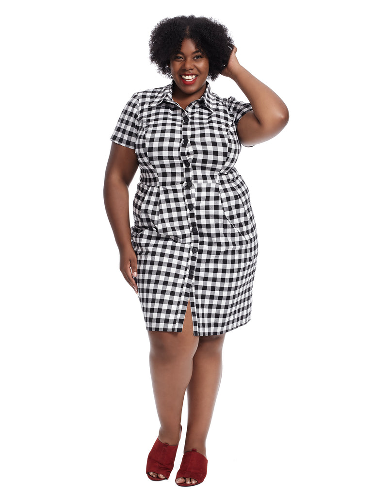 Black And White Plaid Fit And Flare Dress