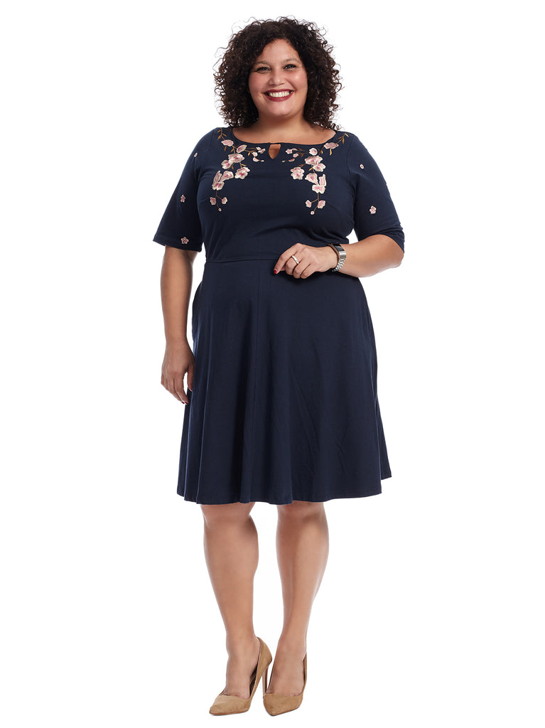 Keyhole Detail Navy Floral Dress