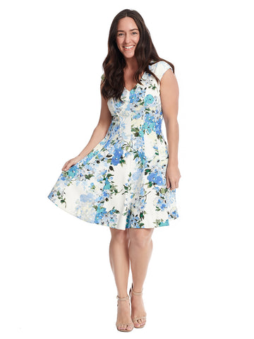 V-Neck Floral Scuba Dress In Blue And White