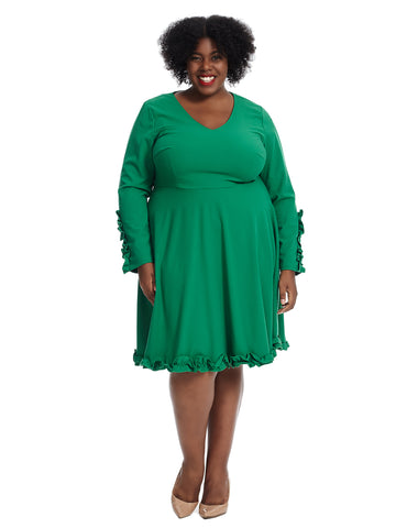 Ruffle Trim Green Crepe Fit And Flare Dress