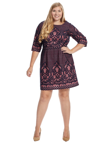 Three-Quarter Sleeve Lace Printed Shift Dress