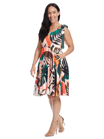 Tie Shoulder Leafy Palm Print Dress