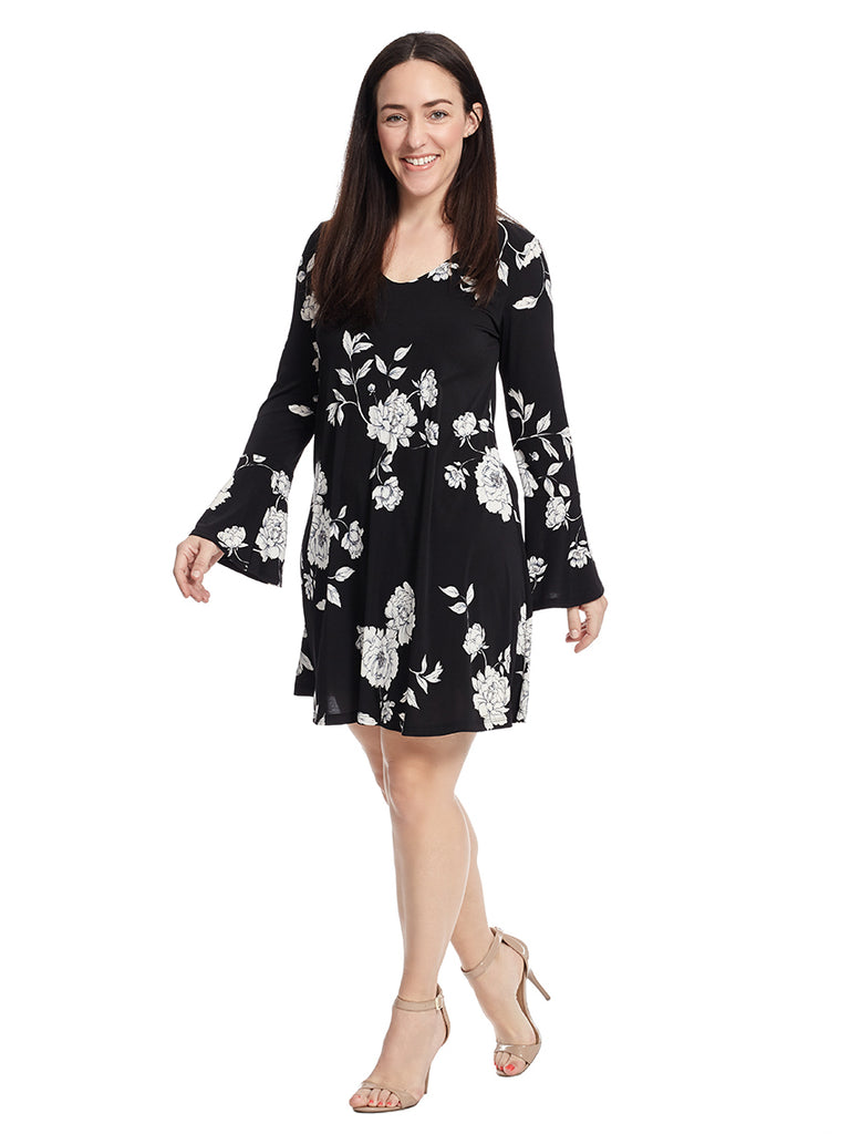 Garden Rose Flare Sleeve Taylor Dress
