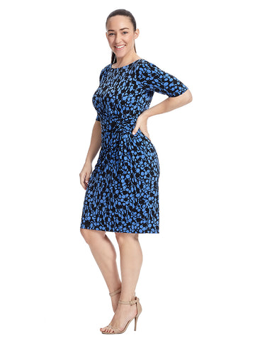 Sheath Dress With Side Shirring In Blue And Black Print