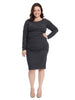 Long Sleeve Boat Neck Christina Dress In Grey
