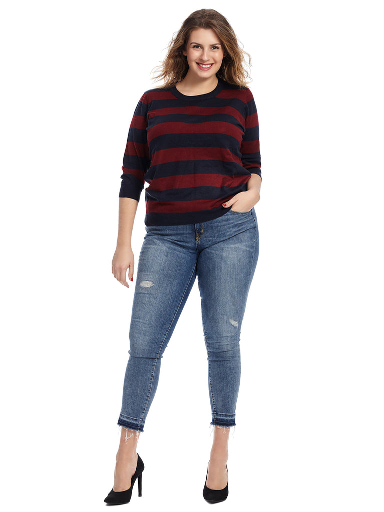 Navy And Wine Striped Knit Sweater