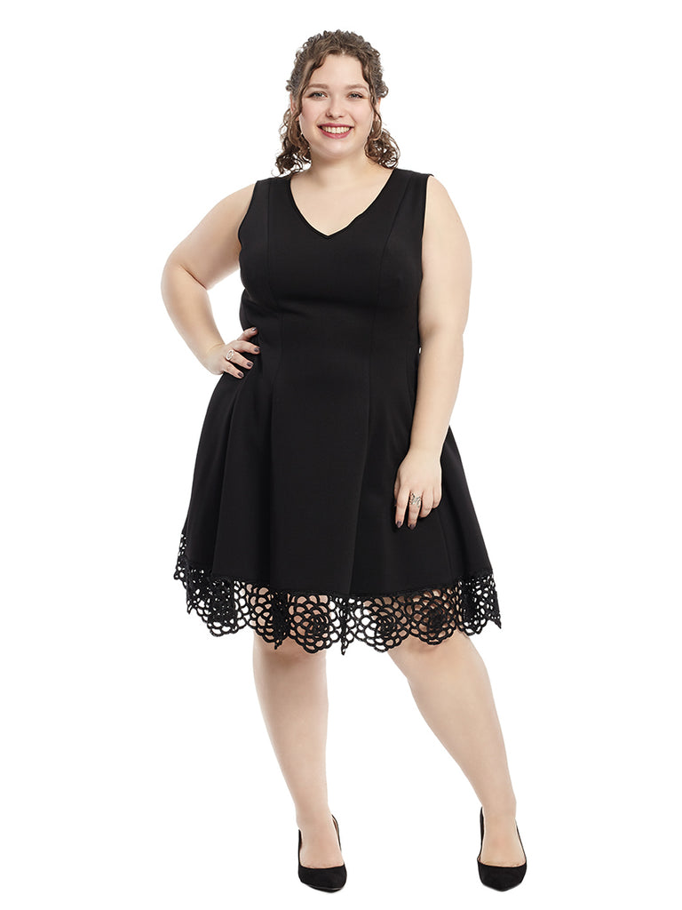 Black Eyelet Fit And Flare Dress