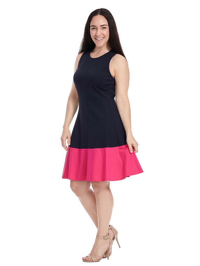 Color Block Dress In Navy & Pink