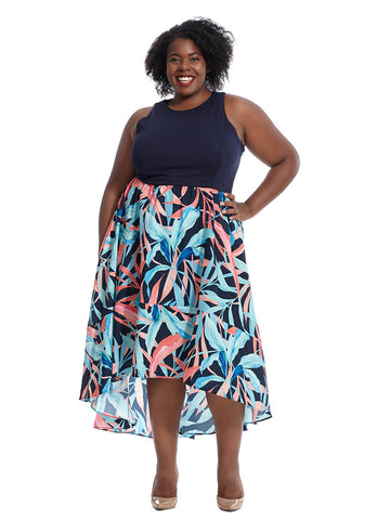 Hi Lo Maxi Dress In Navy Jungle Print