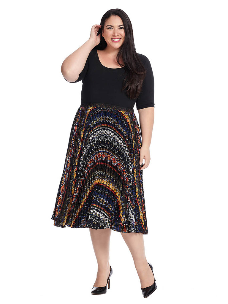 Pleated Skirt In Fair Isle Stripe Multi