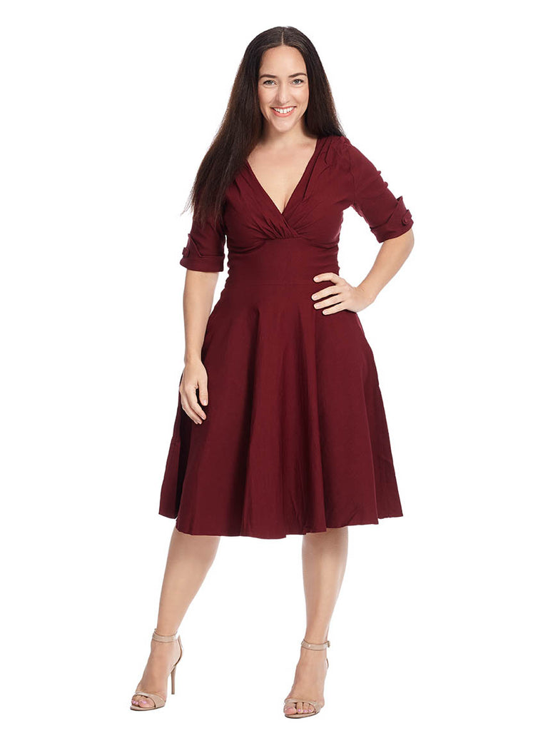 Elbow-Length Delores Dress In Burgundy