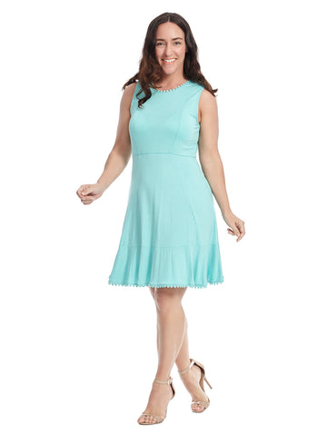 Trim Detail Aqua Fit And Flare Dress
