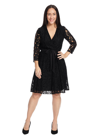 Lace Faux Wrap Dress In Black