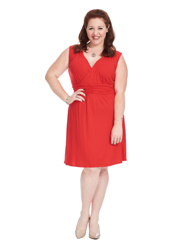 Ruched Waist Red Scarlet Dress