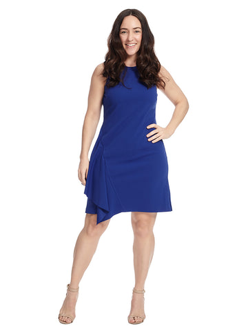 Sleeveless Asymmetrical Ruffle Blue Shift Dress