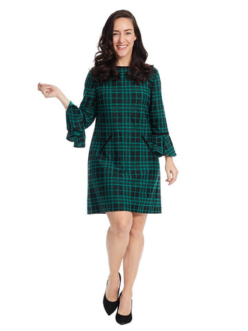 Shift Dress In Green Plaid