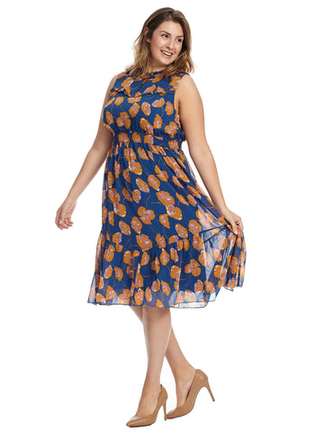 High Neckline Midi Floral Dress
