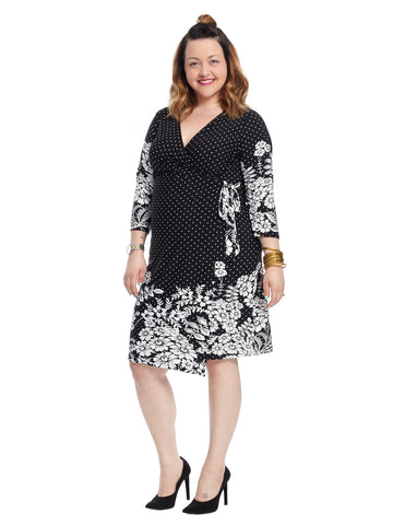 Faux Wrap Dress In Black Border Print