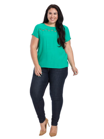 Short Sleeve Blouse With Cut Outs In Kelly Green