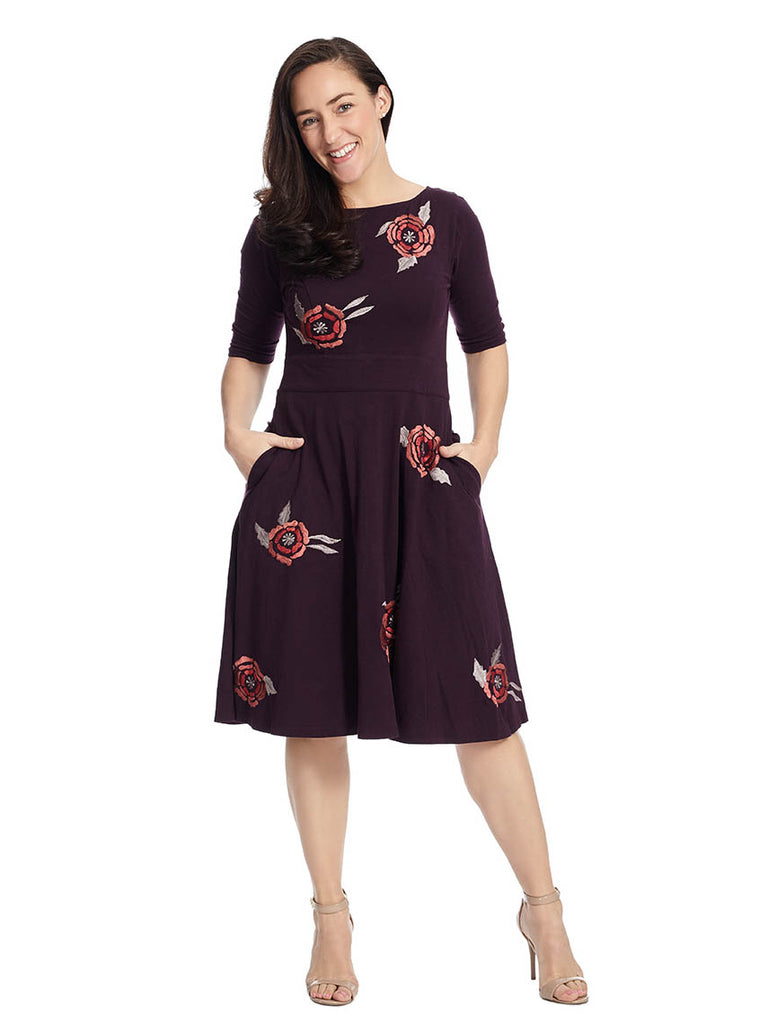 Floral Embellished Dress In Plum Multi