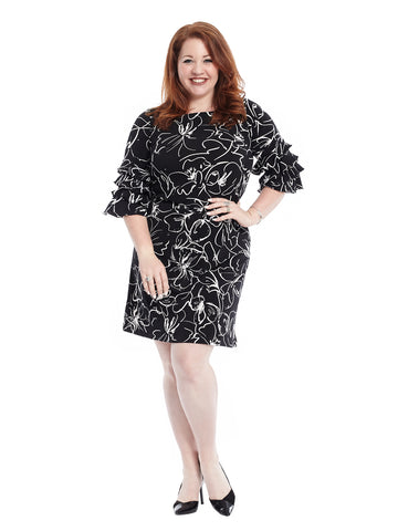 Bell Sleeve Black And White Print Dress