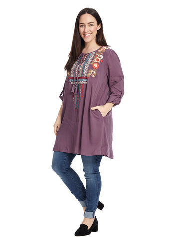 Roll-Tab Sleeve Embroidered Top