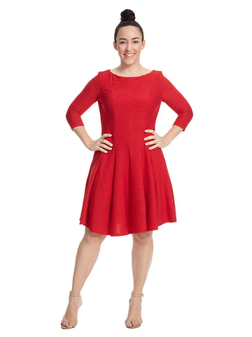 Three-Quarter Sleeve Red Dress