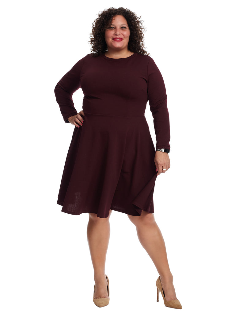 Long Sleeve Eggplant Dress