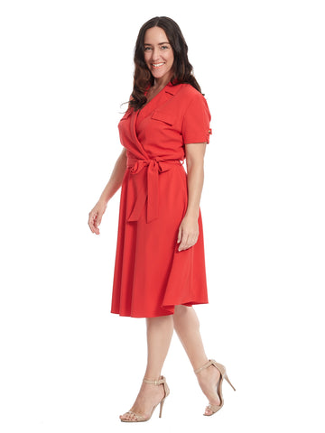 Tie Detail Tomato Crepe Shirtdress
