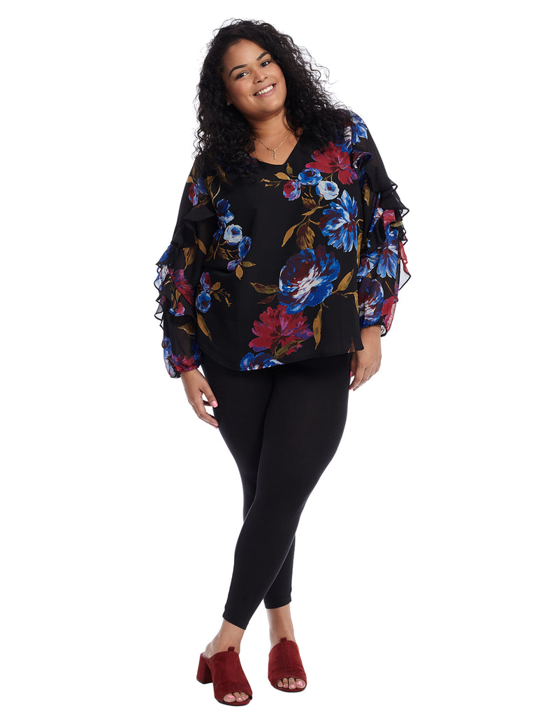Ruffle Sleeve Black Floral Top