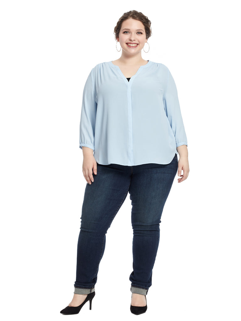 V-Neck Three-Quarter Sleeve Blue Top