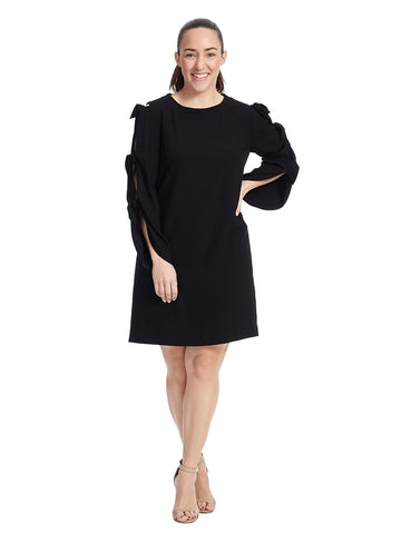Tie Sleeve Black Shift Dress