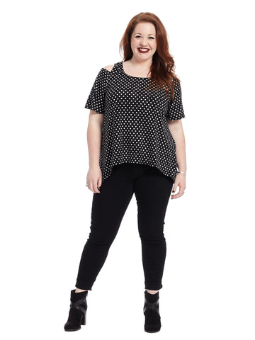 Cold Shoulder Black And White Polka Dot Top